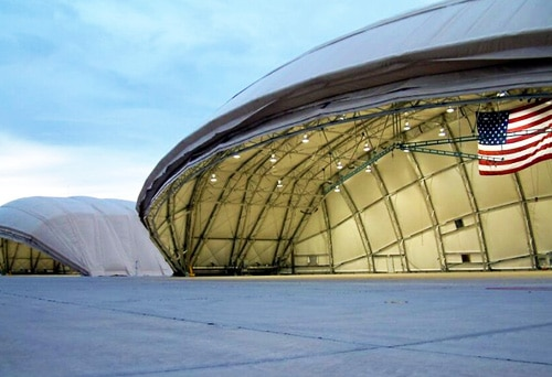 fall arrest rail system inside a military aircraft hangar